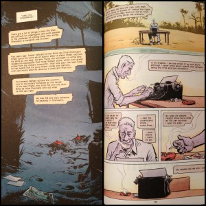 On the left an image showing one of Brás' deaths and on the right the final death at the end of the book. The text balloons here work as a form of General Arthrology that connect events that are a great distance from each other in the body of the graphic novel.