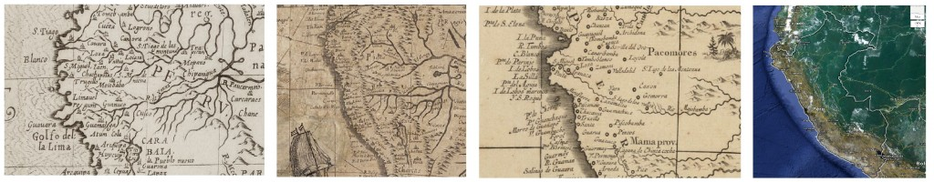 Peru, left to right: 1598, 1673, c1759, and 2013