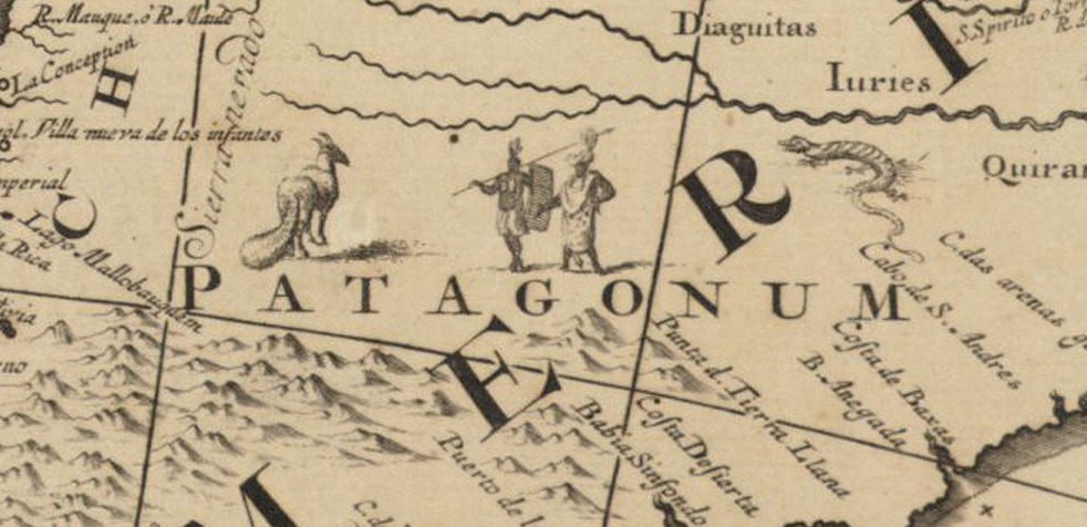 This image of Patagonia from c.1759 depicts two people and what seems to be a horse with an armadillo tail.