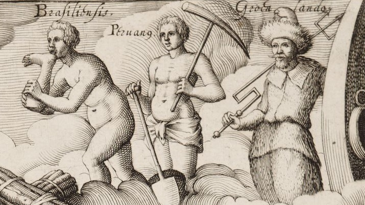 This illustration from 1600 shows a Peruvian (and Brazilian) man on a cloud.