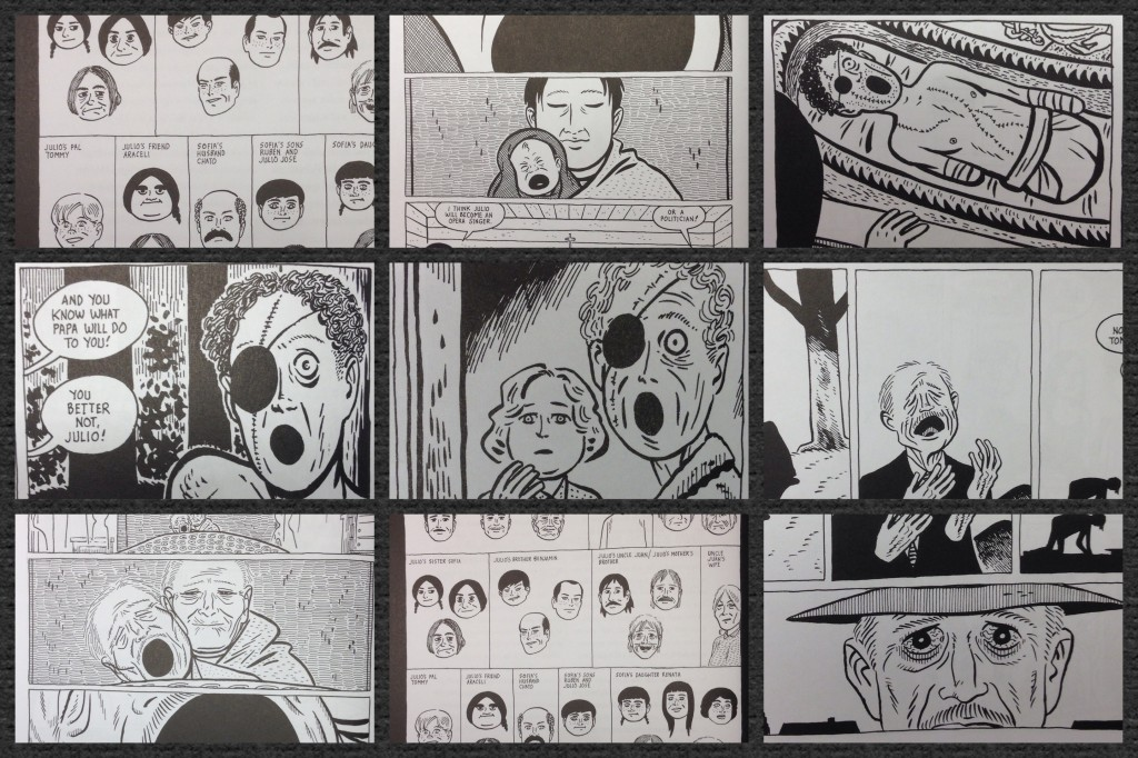 Images from Hernández's graphic novel. Showing the repetition of the open circular mouth and Julio's visual family tree.