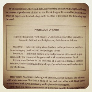 The profession of faith that an aspirant must make during the 30th degree of the Scottish Rite.