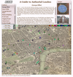George Eliots locations in London, from the Authorial London project.