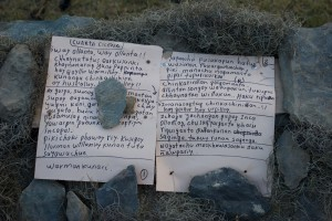 The Quechua script for one of the actors in the play, placed on the terrace ground.