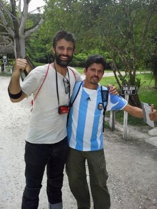 Marcos with a Guatemalan fan (the one wearing the blue and white shirt).