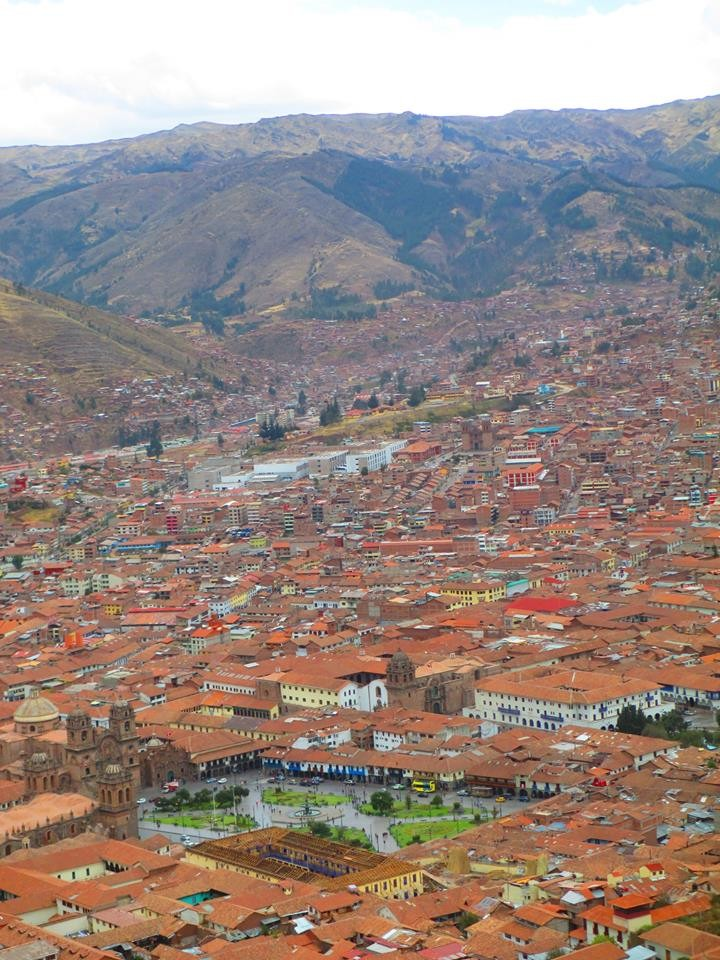 A view of Cusco and the Plaza de Armas from the Inka site of Sacsayhuaman.
