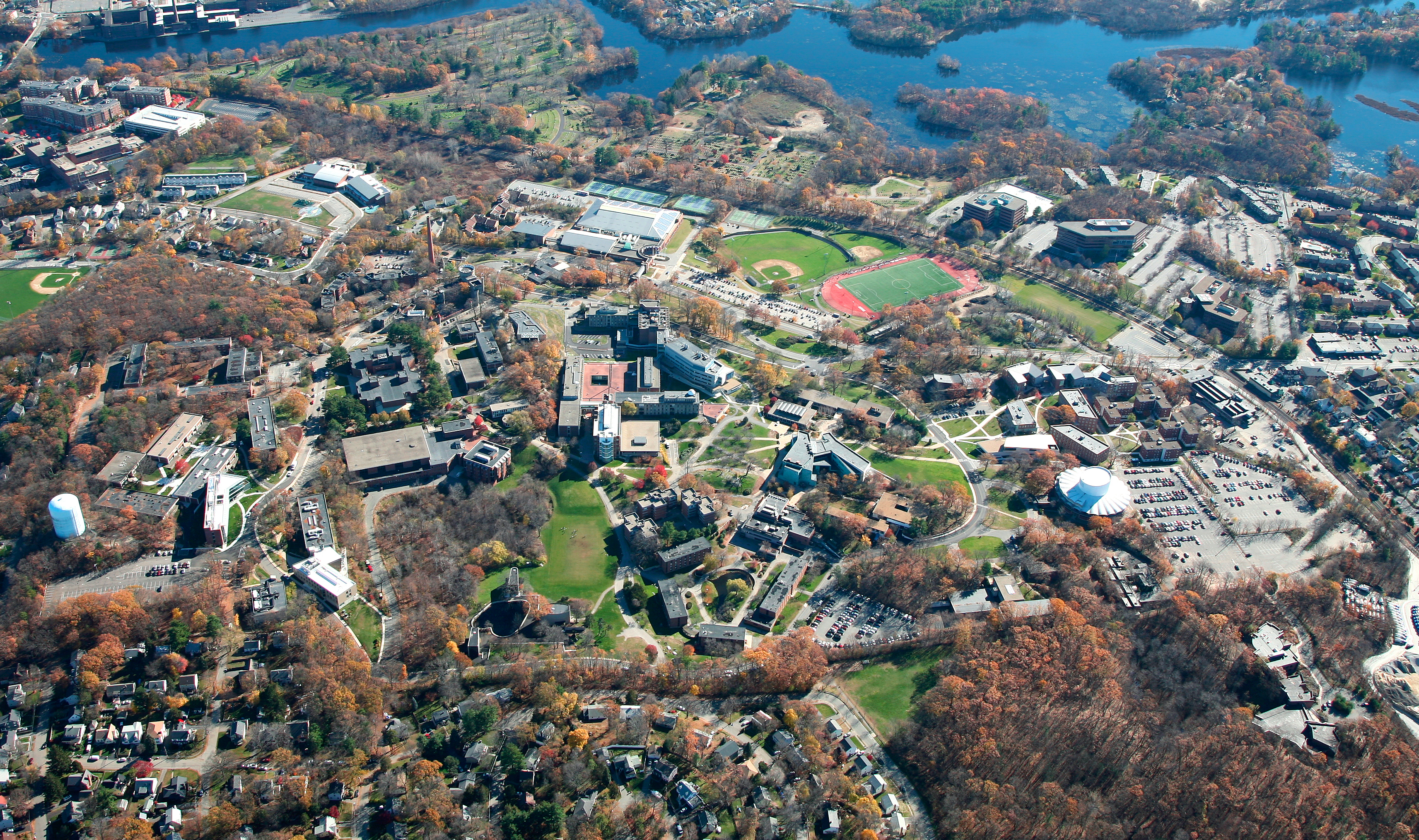 Aerial view of the Brandeis Campus. Photo by Joseph Melanson.