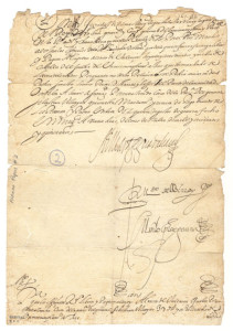 Manuscript page of a copy of a letter, including several loopy signatures and a crabbed postscript.
