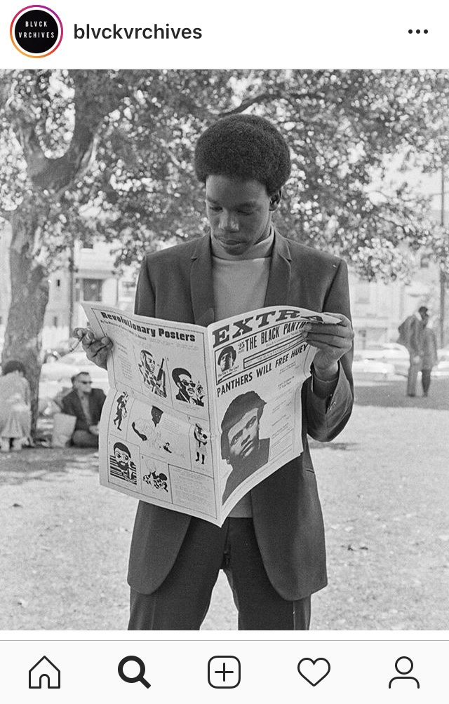 "Caption reads: ""Oakland, California. Photographs from the ""Black Panther"" series as part of the Ruth-Marion Baruch and Prikle collection (late 1960s). The photographs are held at the University of California at Santa Cruz."""